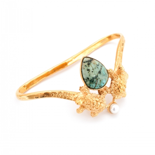 Turtle Hand Cuff Gold Turquoise