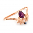 Turtle Hand Cuff Rose Gold Amethyst