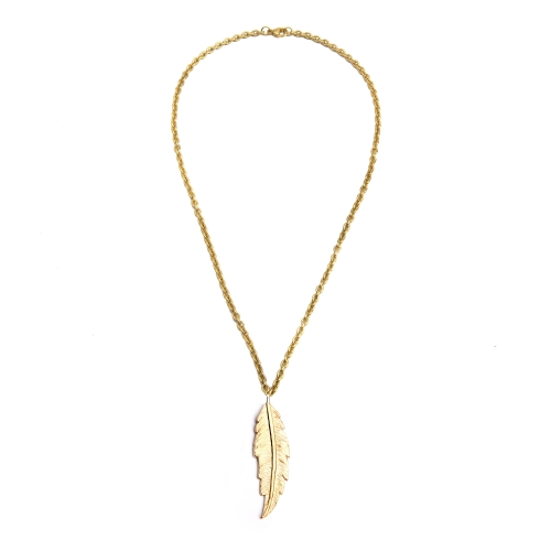 Feather necklace yellow