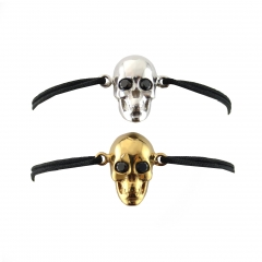 Skull Black Diamond Eyes Cord Bracelet Gold Silver