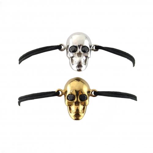 Skull Black Diamond Eyes Cord Bracelet Gold Silver