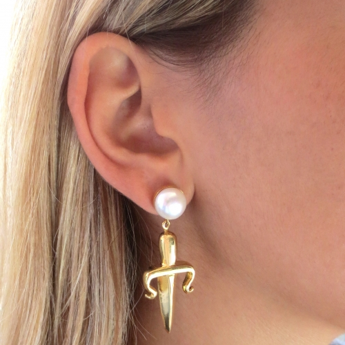 Dagger Drop Mono Earring Pearl Gold