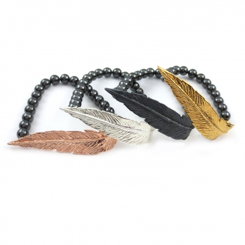 Feather Bead Hematite Bracelet Black Oxidized Rose Gold Silver