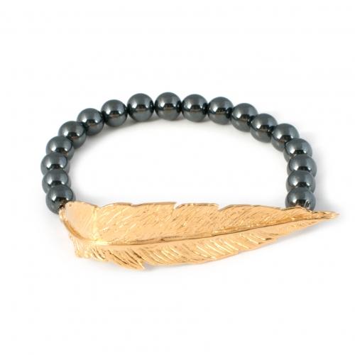 Feather Hematite Bead Bracelet Gold