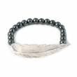 Feather Hematite Bead Bracelet Silver