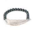 Feather Hematite Bead Bracelet Silver