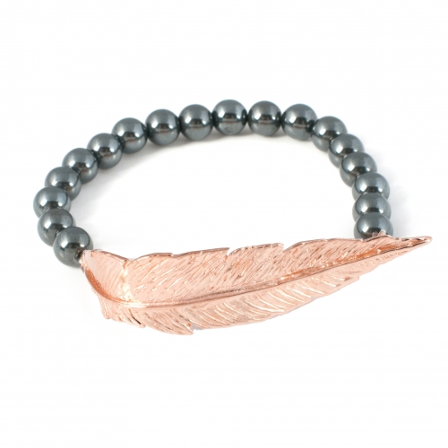 Feather Hematite Bead Bracelet Rose