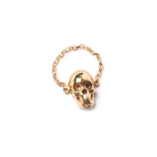 Skull Chain Ring Gold LEIVANKASH Jewellery
