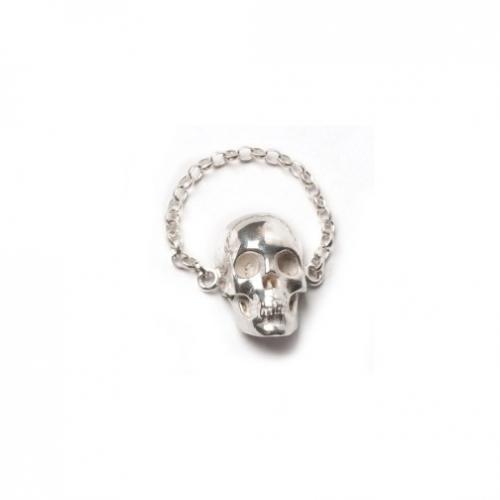 SK19 Skull Chain Ring - Silver