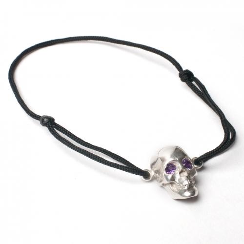 Skull Cord Amethyst Bracelet Silver