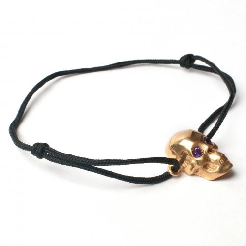 Skull Cord Amethyst Bracelet Gold