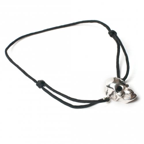 Skull Black Diamond Eyes Cord Bracelet Silver