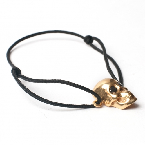 SKull Black Diamond Cord Bracelet Gold