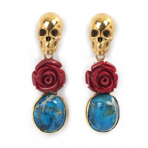 Skull Blue Jasper Coral Earrings