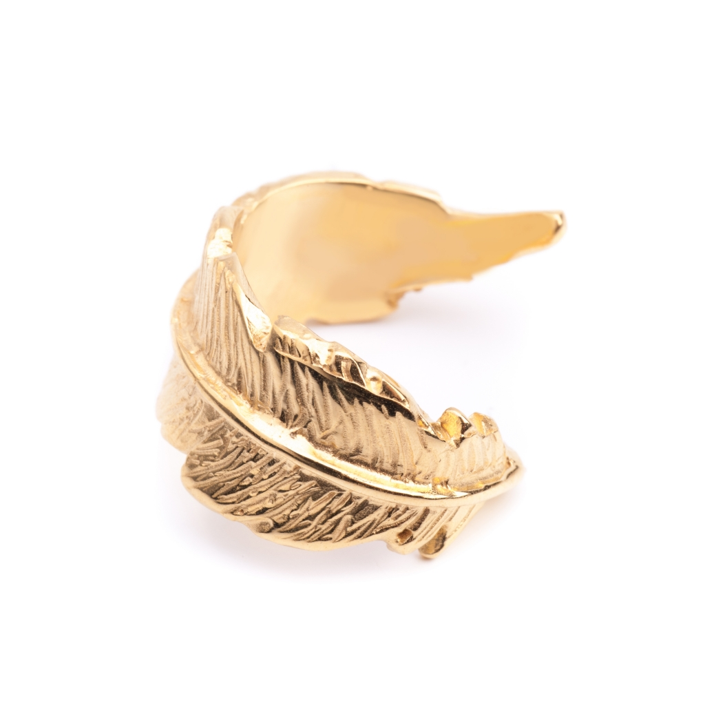 feather open ring gold leivankash jewellery
