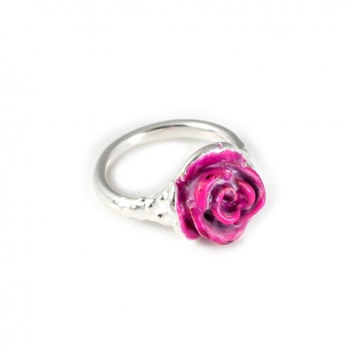 FL63 a Rose Enamel Pinky Silver