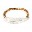 Feather Bead Bracelet - Golden Hematite - Silver