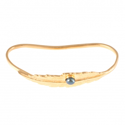 Feather Pearl Hand Cuff - Gold 3