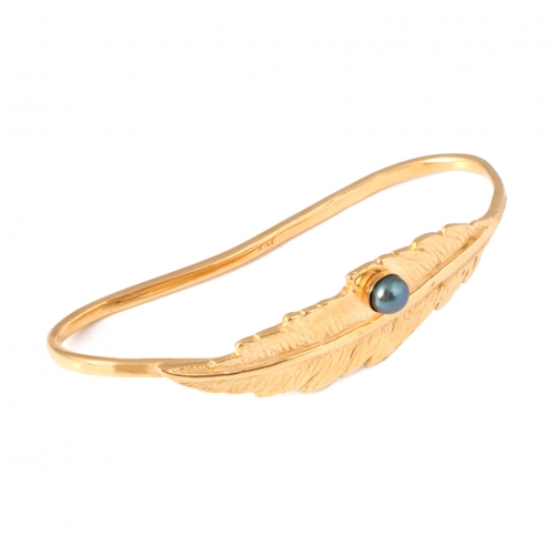 Feather Pearl Hand Cuff - Gold