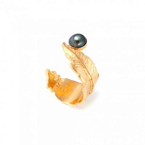 Feather Pearl Open Ring - Gold & Grey Pearl