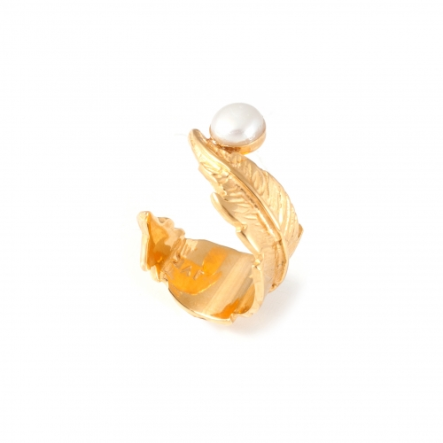 Feather Pearl Open Ring - Gold & White Pearl