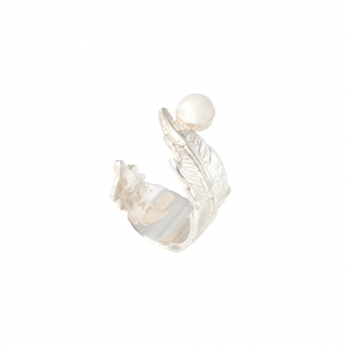 Feather Pearl Open Ring - Silver & White Pearl