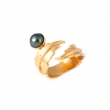 Feather Pearl Pinky Ring - Gold & Grey Pearl