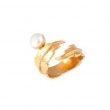 Feather Pearl Pinky Ring - Gold & White Pearl