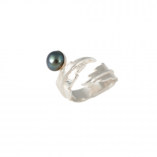 Feather Pearl Pinky Ring - Silver & Grey Pearl 2