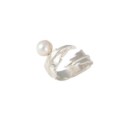 Feather Pearl Pinky Ring - Silver & White Pearl 2