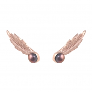 TO61a Feather Pearl Earrings Rose-Grey