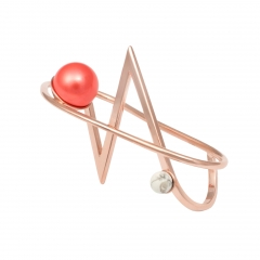 OC036 Acis Knuckle Ring - Rose & Coral Pearl