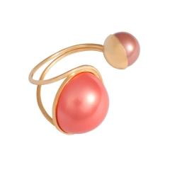OC040 Anya Cuff - Gold & Coral Pearl