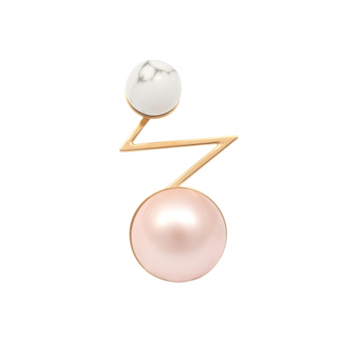 OC062 Acis Earring - Gold & Pink Pearl