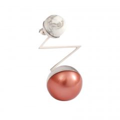 OC063 Acis Earring - Rhodium & Mocha Pearl