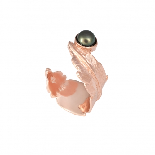 TO65a Feather Pearl Open Ring - Rose