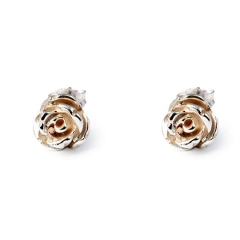 FL81 Rose Stud Earrings - Silver